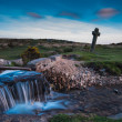 Windy Cross over time lapse wild stream at twilight — Stock Photo #74907353