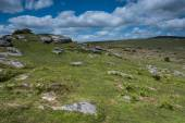 Beautiful Dartmoor landscape with moors and clouds — Stock Photo