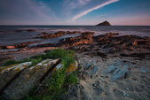 Seascape at twilight, with long exposure at Wembury Beach,Devon — Stockfoto