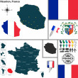 Map of Reunion, France — Stock Vector #52438229