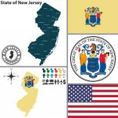 Map of state New Jersey, USA — Stock Vector