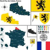 Map of Nord-Pas-de-Calais, France — Stock Vector