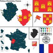 Map of Poitou-Charentes, France — Stock Vector