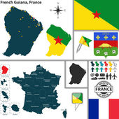 Map of French Guiana, France — Stock Vector