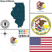Map of state Illinois, USA — Stock Vector