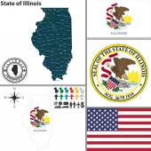 Map of state Illinois, USA — Stok Vektör