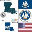 Map of state Louisiana, USA — Stock Vector #53690589