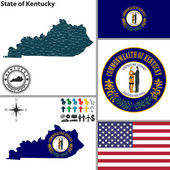 Map of state Kentucky, USA — 图库矢量图片