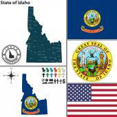 Map of state Idaho, USA — Stock Vector