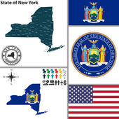 Carte de l'état de new york, Etats-Unis — Vecteur