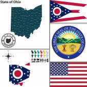 Map of state Ohio, USA — Stock Vector