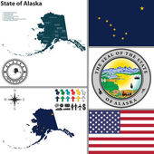Map of state Alaska, USA — Wektor stockowy