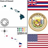 Map of state Hawaii, USA — Stock Vector