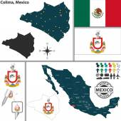 Map of Colima, Mexico — Stock Vector