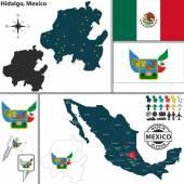 Map of Hidalgo, Mexico — Stock Vector