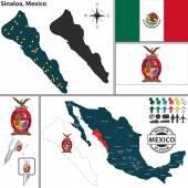 Map of Sinaloa, Mexico — Stock Vector