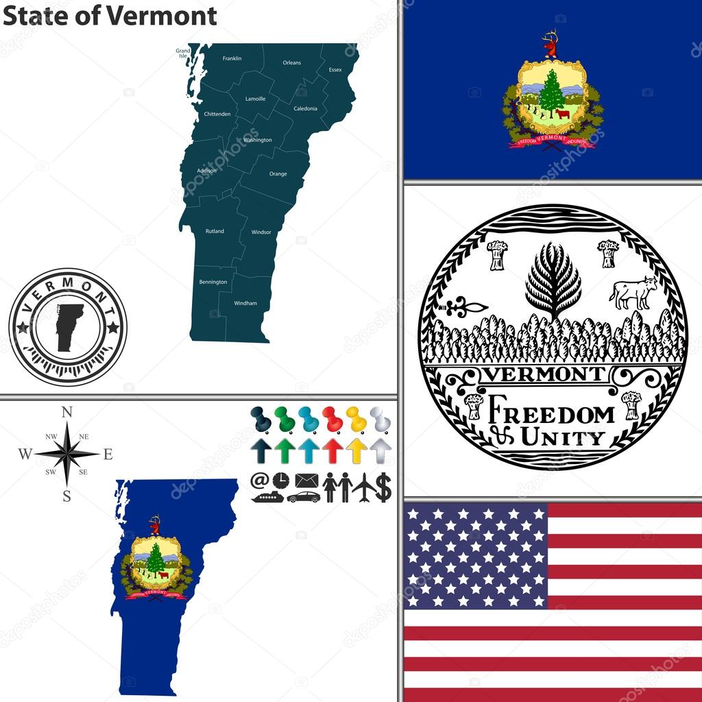 Map Of State Vermont USA  Stock Vector  Sateda - Usa maps vermont