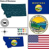 Map of state Montana, USA — Stock Vector
