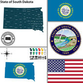 Map of state South Dakota, USA — Stock Vector