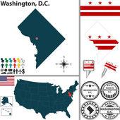 Map of Washington, D.C., USA — Stock Vector