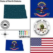 Map of state North Dakota, USA — Stock Vector