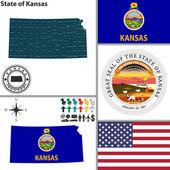 Map of state Kansas, USA — Stock Vector