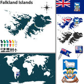 Map of Falkland Islands — Stock Vector