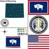 Map of state Wyoming, USA — Stock Vector