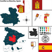Map of Castilla-La Mancha, Spain — Stock Vector