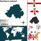 Map of Northern Ireland — Stock Vector