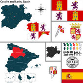 Map of Castile and Leon, Spain — Stock Vector