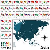 Political map of Asia — Stock Vector