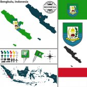 Map of Bengkulu, Indonesia — Stock Vector