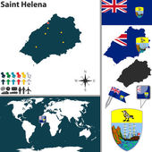 Map of Saint Helena Island — Stock Vector