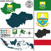 Map of Jambi, Indonesia — Stock Vector