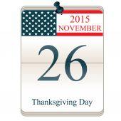 Calendar for Thanksgiving Day — Stock Vector