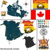 Map of New Brunswick, Canada — Stock Vector