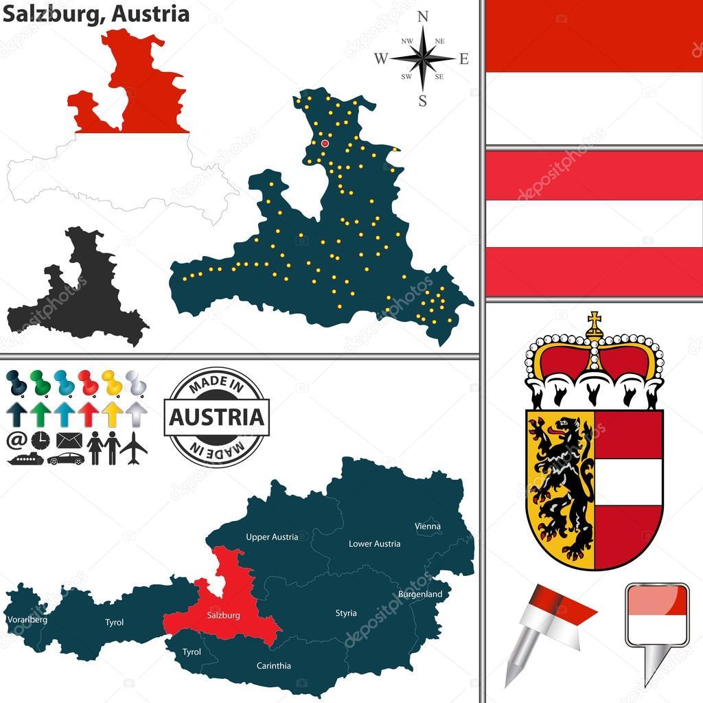 匹配的萨尔茨堡,奥地利电子地图 — 图库矢量图像08