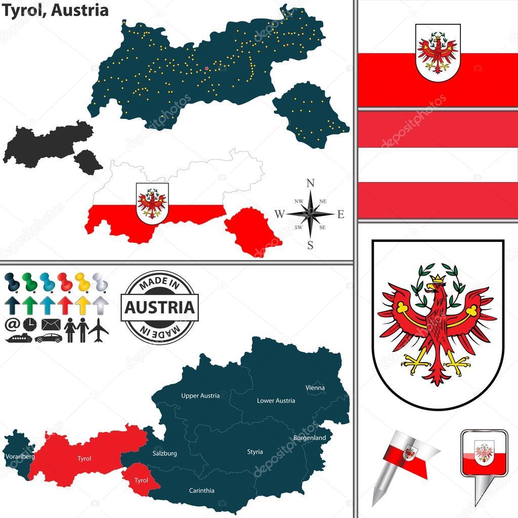匹配的奥地利蒂罗尔州电子地图