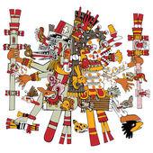 Ancient Aztec God — Stock Vector