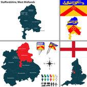 Staffordshire, West Midlands, UK — Stock Vector