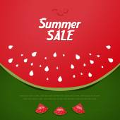 Summer Sale Background, watermelon style — Stock Vector