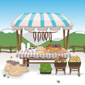 Market place with bio food and vegetables stands — Stockvector