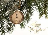 Christmas card with a clock. — Foto de Stock
