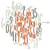 Alphabet written with   brush — Stock Vector