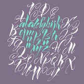 Alphabet letters: lowercase, uppercase. Vector alphabet. Hand drawn letters. Letters of the alphabet written with a paint brush — Vettoriale Stock