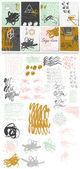 Creative card set. Set of hand drawn elements. Blots, stains, dirt, dots, ticks, etc.. — Stock Vector