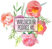 Watercolor Peonies Kit for design cards, invitation — Stock Vector