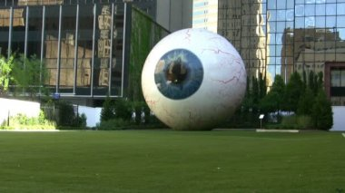 Eye Sculpture In Downtown Dallas With Bird Walking By — Stock Video