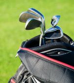 Golf club. Bag with golf clubs — Stock Photo